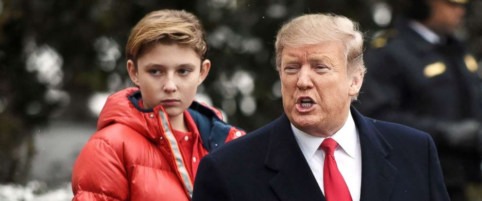 PHOTO: President Donald Trump and Barron Trump depart the White House en route to Florida on Marine One in Washington, D.C., Feb. 2019.