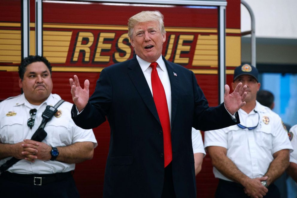 PHOTO: President Donald Trump speaks to first responders at West Palm Beach Fire Rescue, Dec. 27, 2017, in West Palm Beach, Fla.