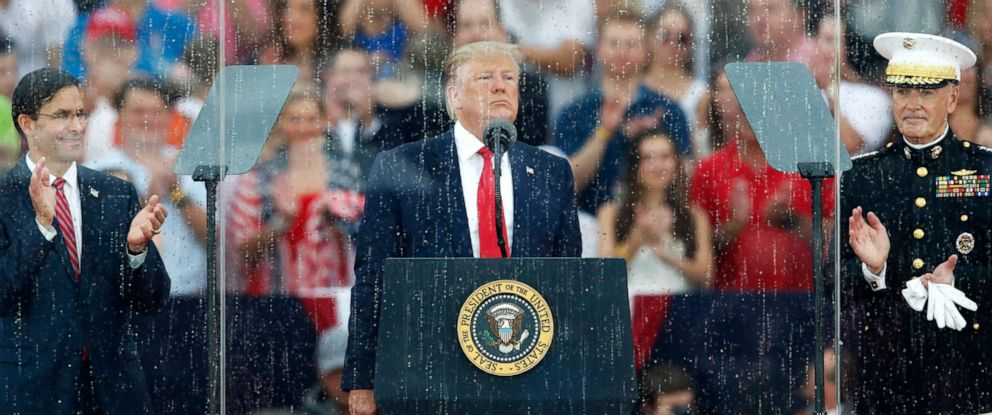 PHOTO: President Donald Trump speaks during an Independence Day celebration in front of the Lincoln Memorial, July 4, 2019, in Washington.