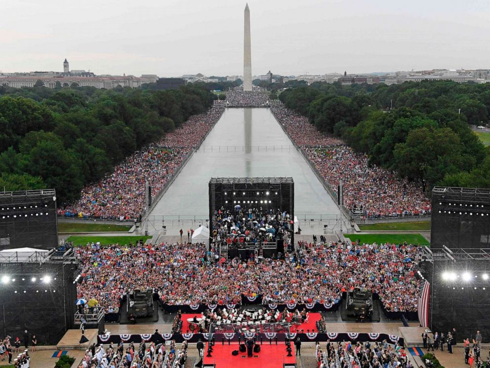 PHOTO: President Donald Trump speaks during the Salute to America Fourth of July event at the Lincoln Memorial in Washington, July 4, 2019.