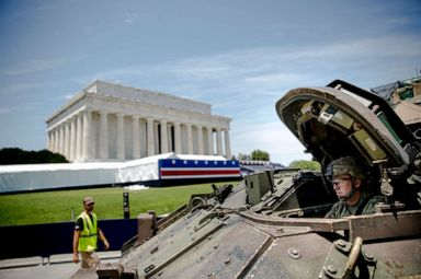 PHOTO: One of two Bradley Fighting Vehicles waits to be driven into place in front of the Lincoln Memorial for President Donald Trumps Salute to America event honoring service branches on Independence Day, July 3, 2019, in Washington.