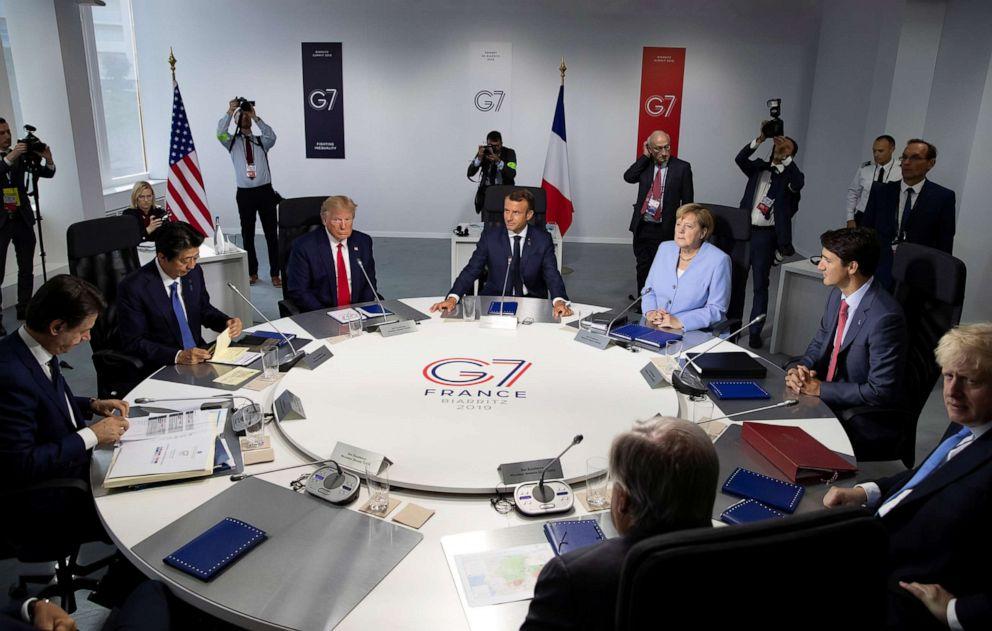 PHOTO: Prime Minister Giuseppe Conte, Prime Minister Shinzo Abe, President Donald Trump, President Emmanuel Macron, Chancellor Angela Merkel, Prime Minister Justin Trudeau, Prime Minister Boris Johnson at the G7 summit, Biarritz, France, August 26, 2019.