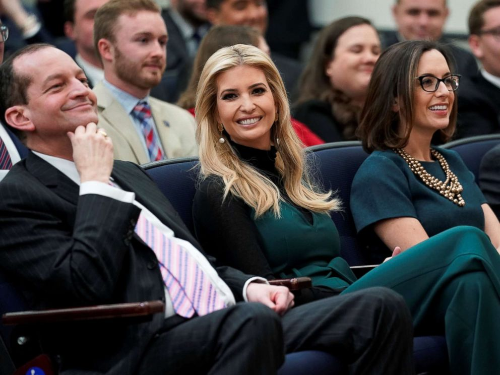 PHOTO: White House senior adviser Ivanka Trump looks on as President Donald Trump participates in a youth forum titled Generation Next, at the White House in Washington, March 22, 2018.