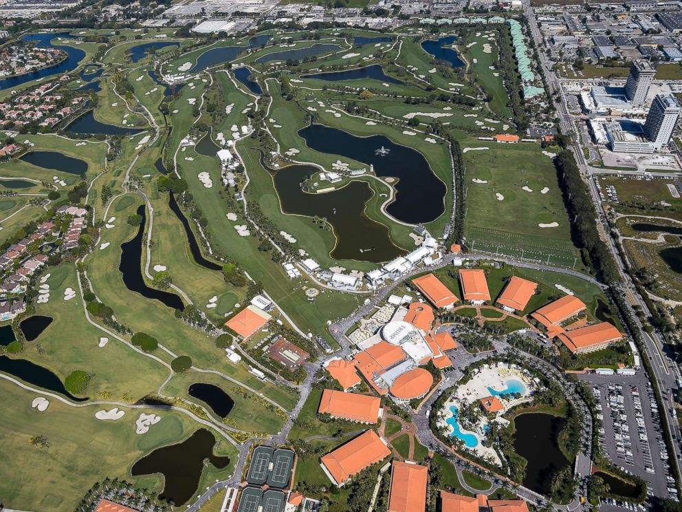PHOTO: An aerial course overview from the MetLife Snoopy One Blimp during the second round of the World Golf Championships-Cadillac Championship at Blue Monster, Trump National Doral, March 4, 2016, in Doral, Fla.