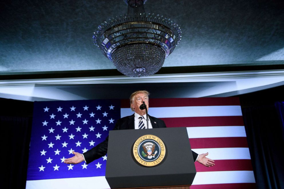 PHOTO: President Donald Trump speaks during a fundraiser at the Carmel Country Club, Aug. 31, 2018 in Charlotte, N.C.