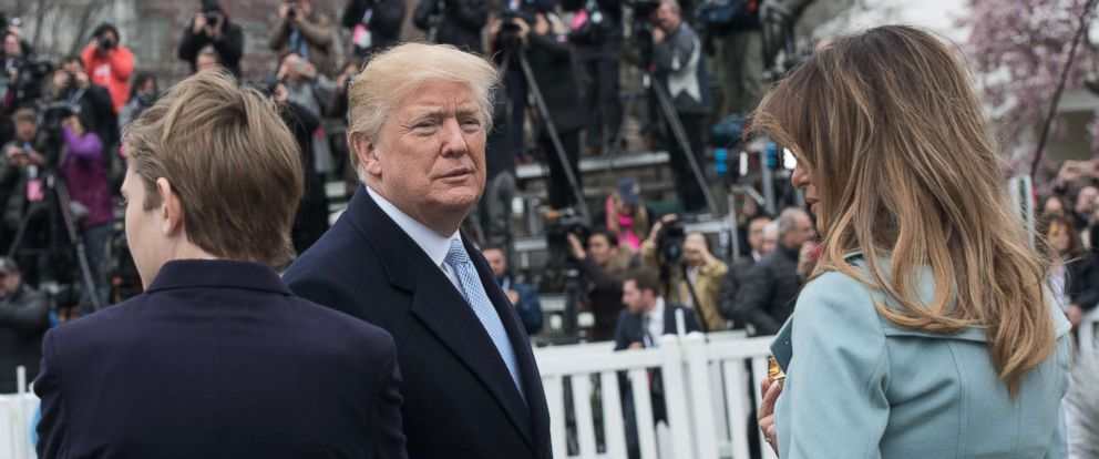 PHOTO: President Donald Trump, First Lady Melania Trump and their son Barron attend the annual Easter Egg Roll at the White House, April 2, 2018.
