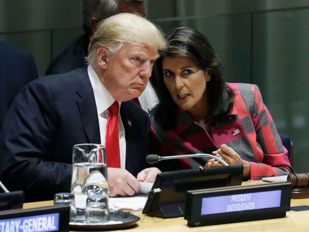 PHOTO: President Donald Trump talks to Nikki Haley, the U.S. Ambassador to the United Nations, at the United Nations General Assembly at U.N. headquarters, Sept. 24, 2018.