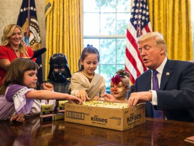 PHOTO: President Donald Trump Meets With The Children Of White House  Journalists, Dressed In