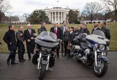 PHOTO: In this file photo, President Donald Trump talks with Harley Davidson executives on the South Lawn of the White House, Feb. 2, 2017, in Washington, DC.