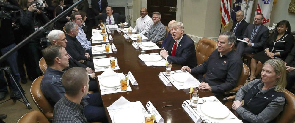 PHOTO: In this file photo, President Donald Trump meets with executives and union representatives from the Harley Davidson company at the White House, Feb. 2, 2017, in Washington.
