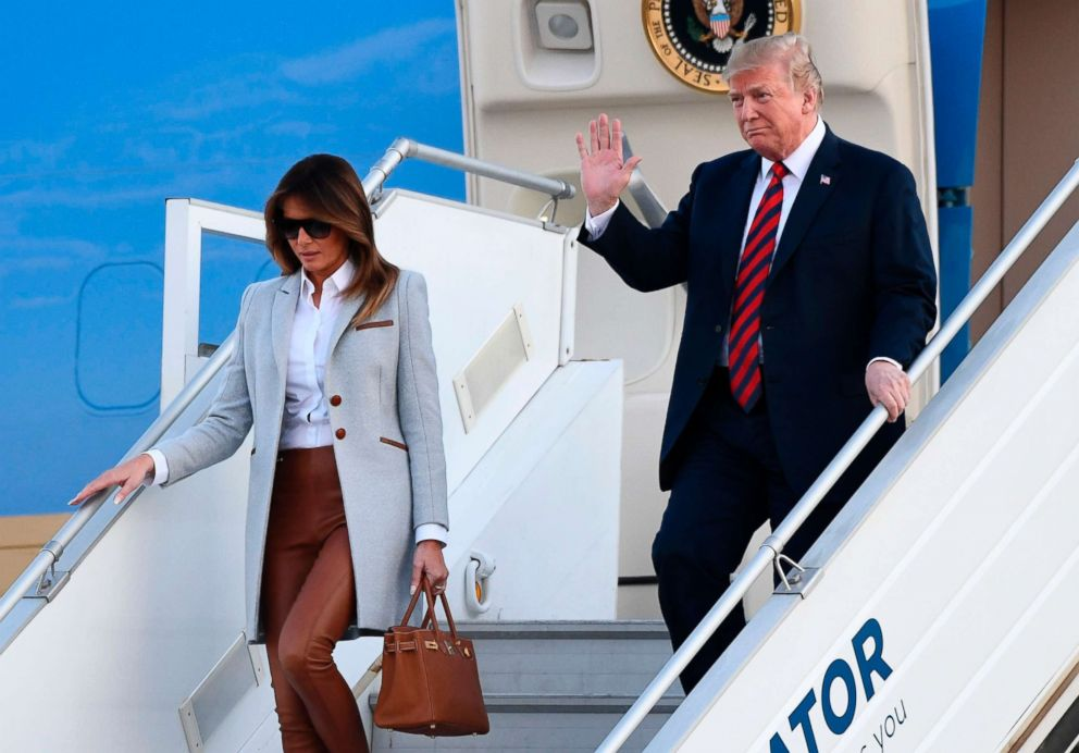 President Donald Trump and First Lady Melania Trump disembark from Air Force One upon arrival at Helsinki-Vantaa Airport in Helsinki, July 15, 2018.