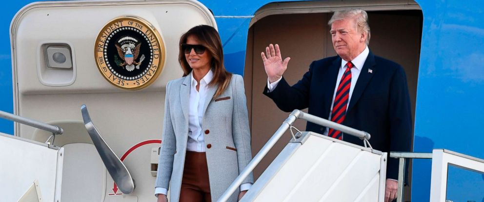 PHOTO: President Donald Trump and First Lady Melania Trump disembark from Air Force One upon arrival at Helsinki-Vantaa Airport in Helsinki, July 15, 2018, on the eve of a summit in Helsinki between the US President and his Russian counterpart.