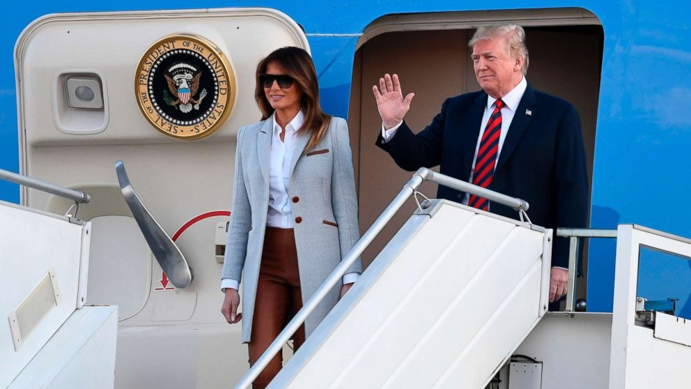 President Donald Trump and First Lady Melania Trump disembark from Air Force One upon arrival at Helsinki-Vantaa Airport in Helsinki, July 15, 2018, on the eve of a summit in Helsinki between the US President and his Russian counterpart.