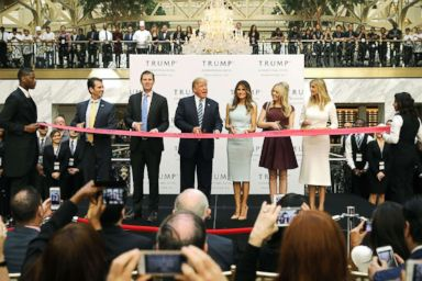 PHOTO: Republican presidential nominee Donald Trump and his family (L-R) son Donald Trump Jr, son Eric Trump, wife Melania Trump and daughters Tiffany Trump and Ivanka Trump at the new Trump International Hotel in Washington, D.C., Oct. 26, 2016.