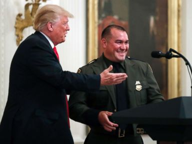 Trump calls on Hispanic-American officer, saying he 'speaks perfect English'