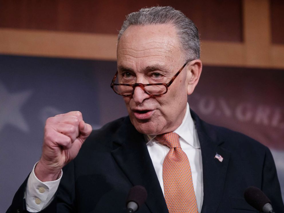 PHOTO: Senate Minority Leader Chuck Schumer, explains to reporters how his negotiations with President Donald Trump broke down yesterday during this press conference on Jan. 20, 2018.