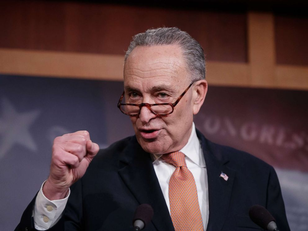 PHOTO: Senate Minority Leader Chuck Schumer, explains to reporters how his negotiations with President Donald Trump broke down during this press conference on Jan. 20, 2018.