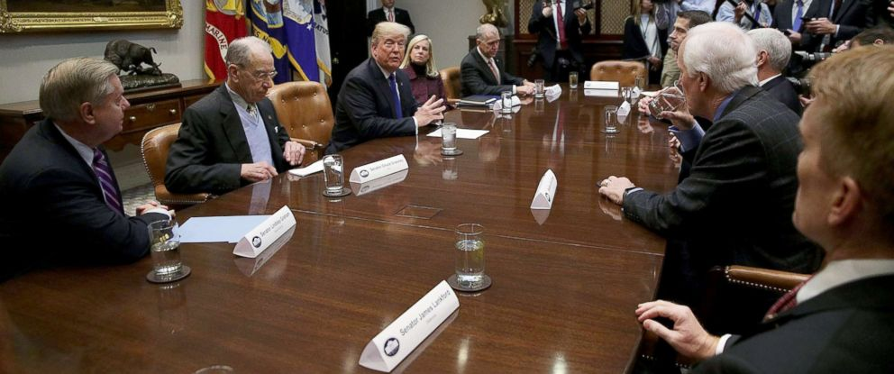 PHOTO: President Donald Trump speaks during a meeting with republican members of the Senate to discuss immigration at the White House, Washington, Jan. 4, 2018.