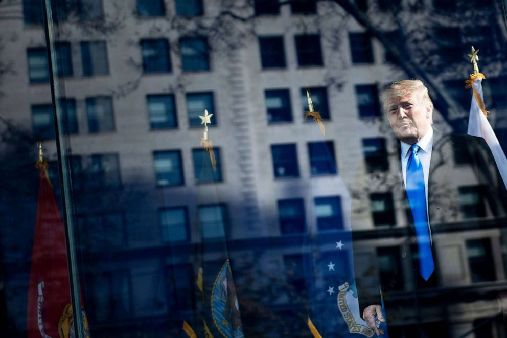 PHOTO: President Donald Trump arrives for a Veterans Day event at Madison Square Park in New York, Nov. 11, 2019.