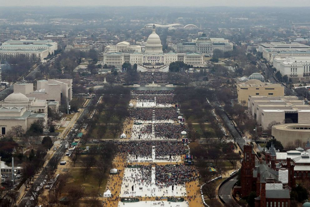 PHOTO:The view from the top of the Washington monument showing the size of the crowd that during the inauguration ceremonies for the swearing in of Donald Trump as the 45th president of the United States at the U.S. Capitol in Washington, Jan. 20, 2017.
