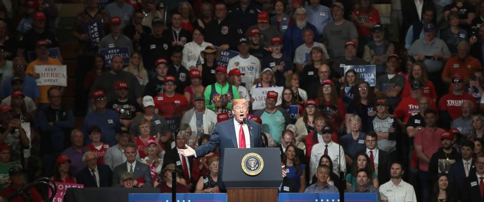 PHOTO: President Donald Trump speaks to supporters at a campaign rally, May 10, 2018 in Elkhart, Indiana