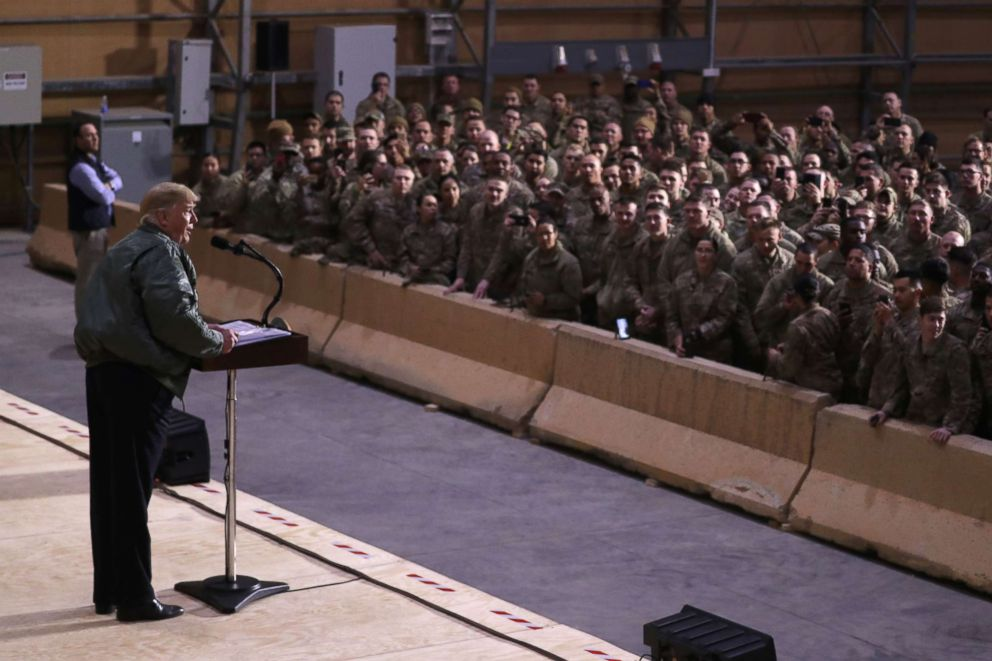 PHOTO: President Donald Trump delivers remarks to U.S. troops in an unannounced visit to Al Asad Air Base, Iraq, Dec. 26, 2018.