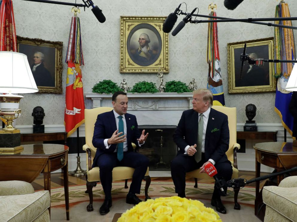 PHOTO: President Donald Trump meets with Irish Prime Minister Leo Varadkar in the Oval Office of the White House, March 14, 2019.