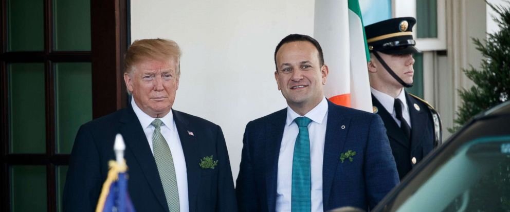PHOTO: President Donald J. Trump greets Irish Prime Minister Leo Varadkar as he arrives at the West Wing of the White House, March 14, 2019.