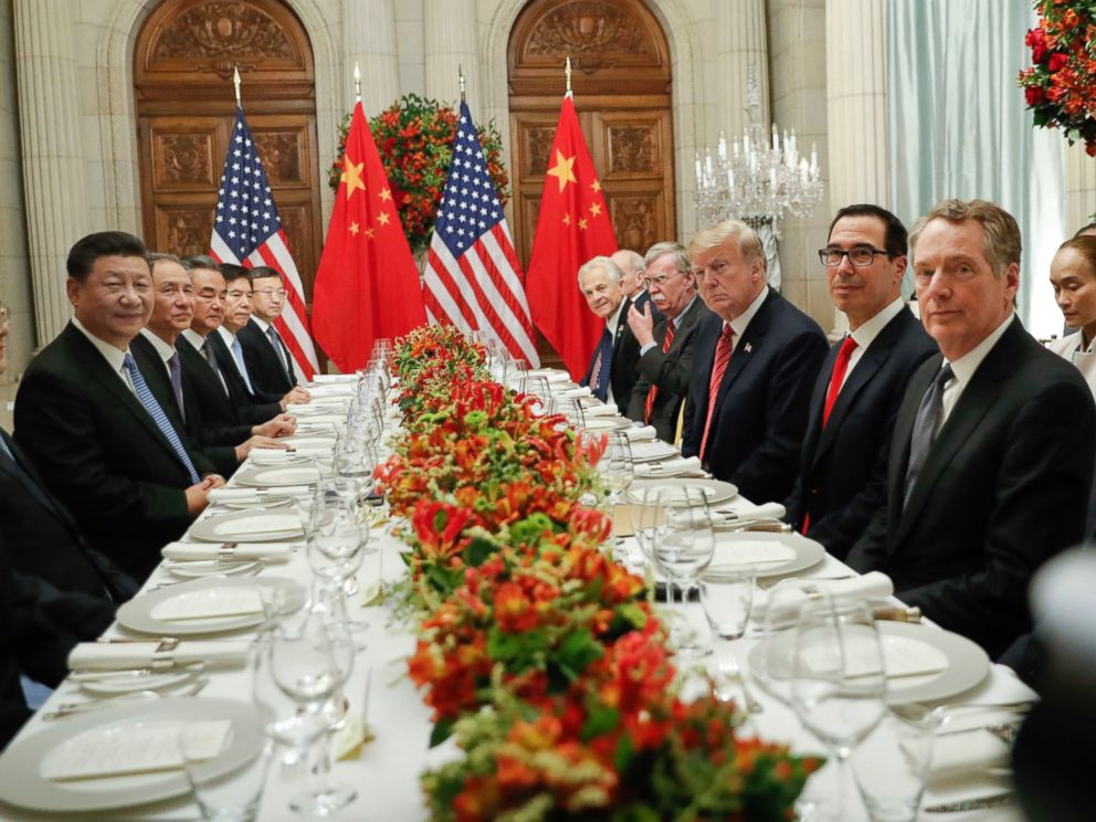 PHOTO: President Donald Trump with Chinas President Xi Jinping and members of their official delegations during their bilateral meeting at the G20 Summit, Saturday, Dec. 1, 2018 in Buenos Aires, Argentina.