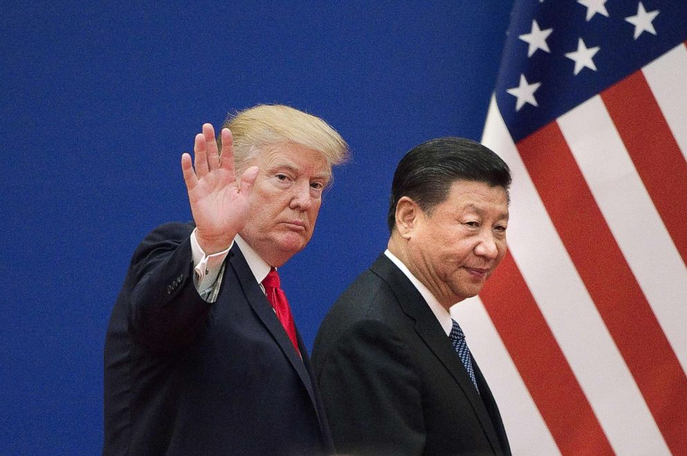 PHOTO: President Donald Trump and Chinas President Xi Jinping leaving a business leaders event at the Great Hall of the People in Beijing, Nov. 9, 2017.