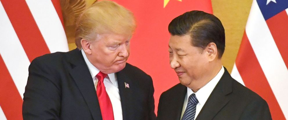 PHOTO: President Donald Trump and Chinese President Xi Jinping shake hands at a joint news conference held after their meeting in Beijing, Nov. 9, 2017.