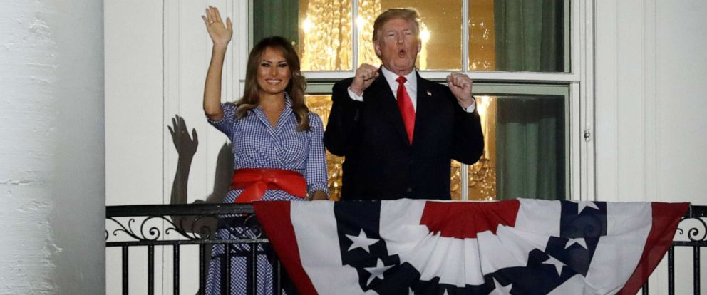 PHOTO: President Donald Trump and First Lady Melania Trump on a balcony of the White House during the fireworks display in Washington, D.C., on Wednesday, July 4, 2018.
