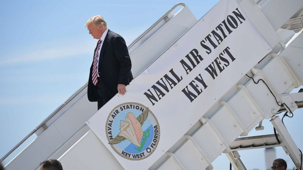 President Donald Trump steps off Air Force One upon arrival at Naval Air Station Key West in Key West, Fla., April 19, 2018.
