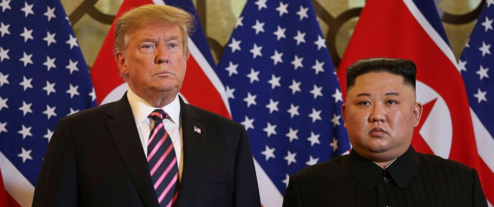 PHOTO: President Donald Trump and North Korean leader Kim Jong Un pose before their meeting during the second U.S.-North Korea summit at the Metropole Hotel in Hanoi, Vietnam Feb. 27, 2019.