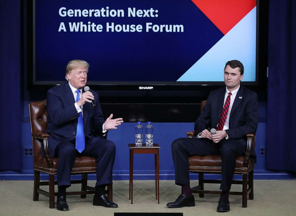 PHOTO: President Donald Trump speaks with conservative activist Charlie Kirk at a forum dubbed the Generation Next Summit at the White House, March 22, 2018.