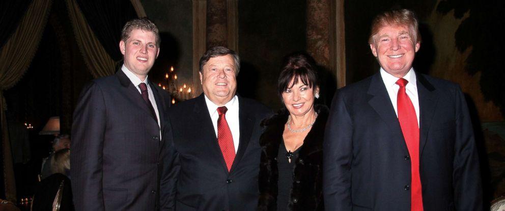 PHOTO: From left: Eric Trump, Viktor Knavs, Amalija Knavs, and Donald Trump pose at the Mar-a-Lago club in Palm Beach, Fla., Nov. 23, 2006.