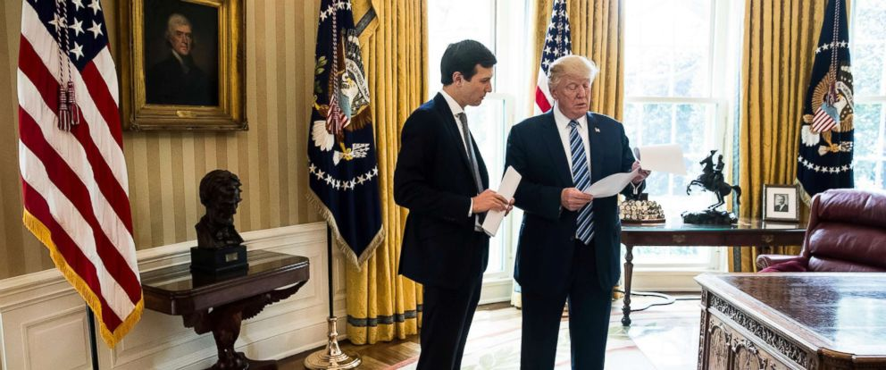 PHOTO: President Donald Trump speaks to White House Senior Adviser Jared Kushner, left, in the Oval Office in Washington, D.C., April 21, 2017.