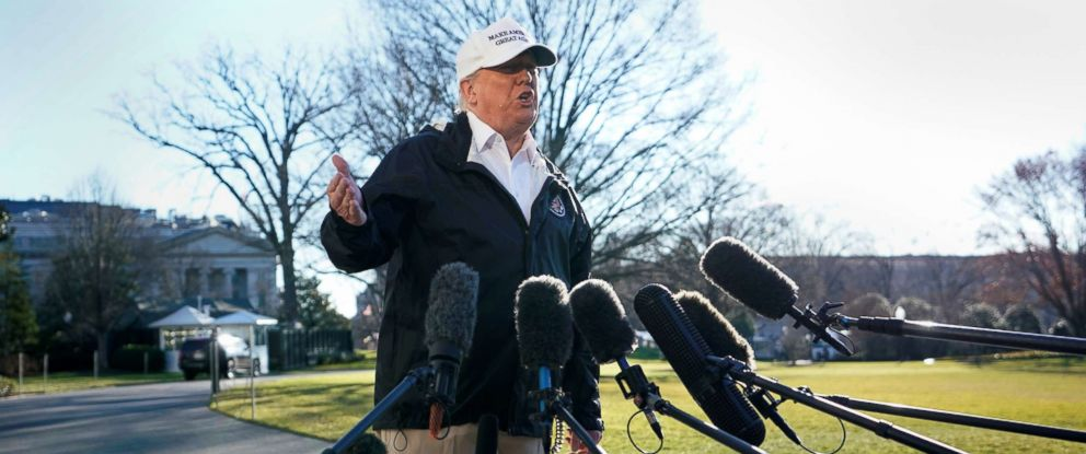 PHOTO: President Donald Trump talks to reporters as he departs for a visit to the U.S. southern border area in Texas from the White House in Washington, Jan. 10, 2019.