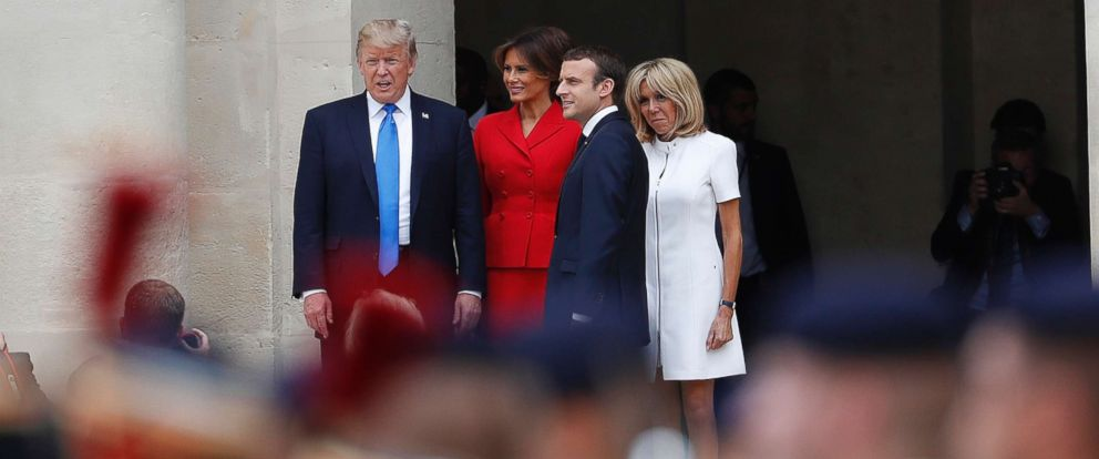 PHOTO: President Donald Trump, his wife Melania attend a welcoming ceremony in Paris with French President Emmanuel Macron and his wife Brigitte, July 13, 2017.
