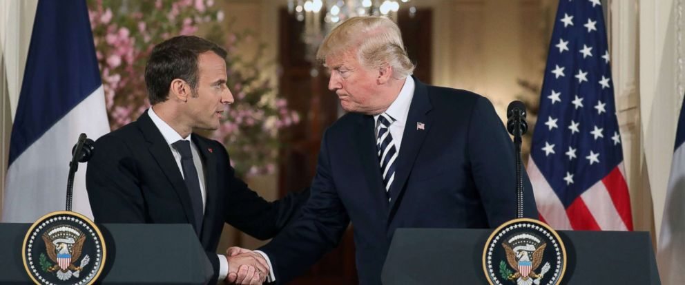 PHOTO: US President Donald Trump and French President Emmanuel Macron shake hands before holding a joint press conference at the White House in Washington, DC, on April 24, 2018.