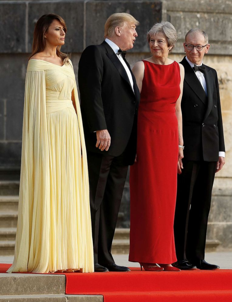 PHOTO: British Prime Minister Theresa May and her husband Philip stand with President Donald Trump and first lady Melania Trump at the entrance to Blenheim Palace, where they are attending a dinner, near Oxford, Britain, July 12, 2018.