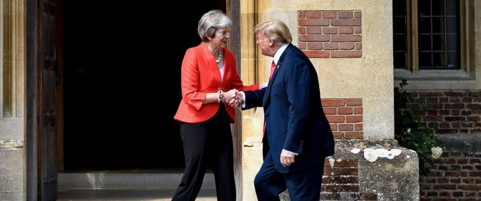 PHOTO: Britains Prime Minister Theresa May welcomes President Donald Trump for a meeting at Chequers, the prime ministers country residence, near Ellesborough, northwest of London, July 13, 2018.