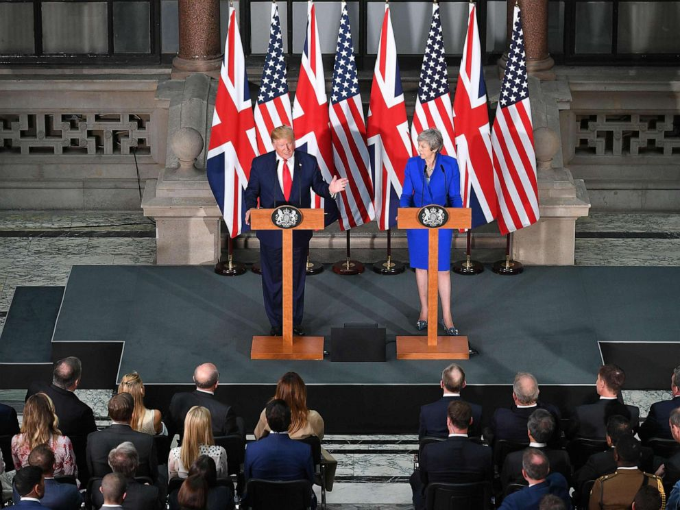 PHOTO: President Donald Trump and Britains Prime Minister Theresa May give a joint press conference at the Foreign and Commonwealth office in London, June 4, 2019.
