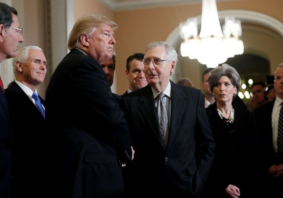PHOTO: President Donald Trump shakes hands with Senate Majority Leader Mitch McConnell as the president departs after addressing a closed Senate Republican policy lunch on Capitol Hill in Washington, Jan. 9, 2019.
