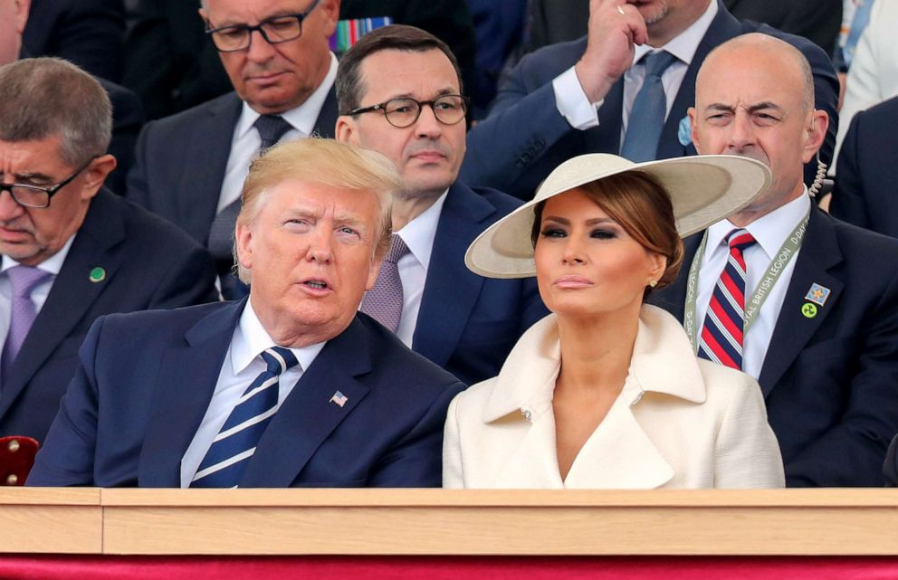 PHOTO: President Donald Trump and First Lady Melania Trump attend an event to commemorate the 75th anniversary of the D-Day landings, in Portsmouth, southern England, June 5, 2019.