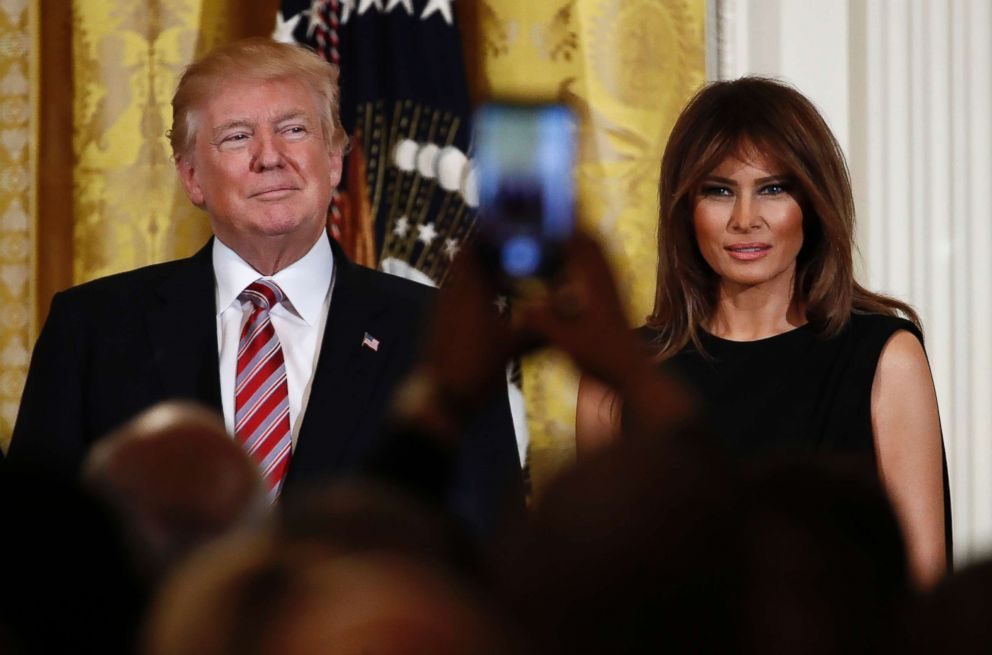 PHOTO: President Donald Trump and first lady Melania Trump attend the National African American History Month reception in the East Room of the White House, Feb. 13, 2018