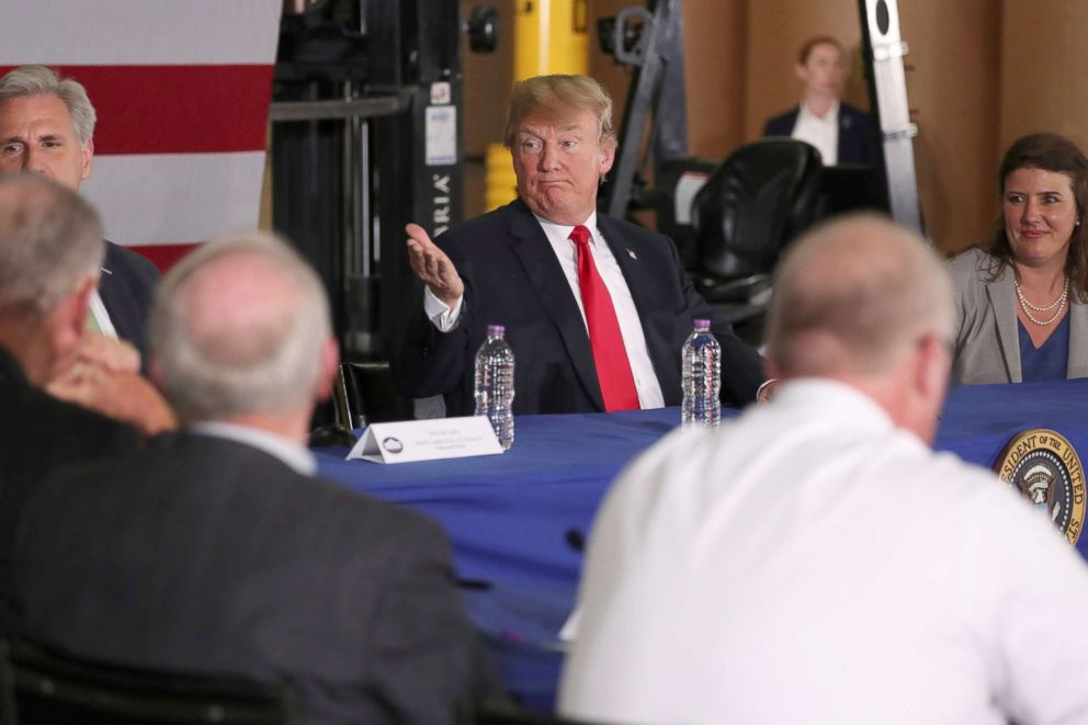 PHOTO: President Donald Trump participates in a roundtable discussion about trade in Duluth, Minn., June 20, 2018.