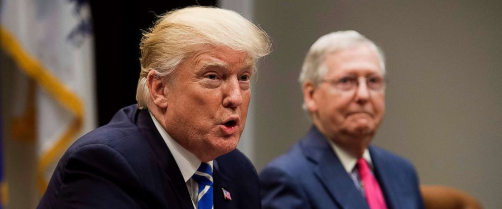 PHOTO: President Donald Trump speaks alongside Senate Majority Leader Mitch McConnell as they hold a meeting about tax reform in the Roosevelt Room of the White House in Washington in this Sept. 5, 2017 file photo.