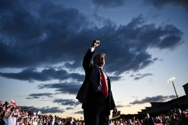 PHOTO: President Donald Trump walks by his supporters as he leaves his Make America Great Again rally at Williamsport Regional Airport, May 20, 2019, in Montoursville, Penn.
