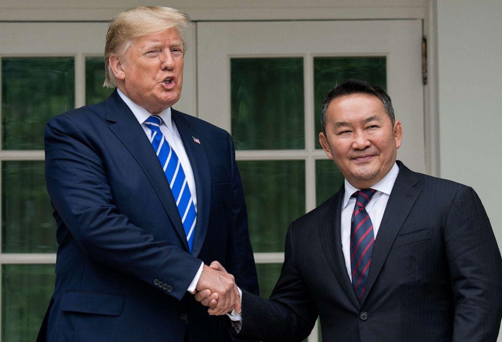 PHOTO: President Donald Trump shakes hands with Mongolian President Khaltmaa Battulga in the Rose Garden of the White House in Washington, D.C., on July 31, 2019